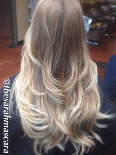 Ombre with super light balayaged highlights on cool blonde hair.