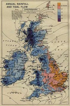 Map Annual Rainfall and Tidal Flow Diagram British Isles