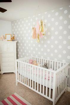 Polka Dot Nursery, Pink And Gray Nursery, Baby Nursery Diy, Polka Dot Walls, Baby Boy Room Decor, Baby Boy Rooms, Polka Dots, Baby Girls, Nursery Ideas