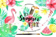 Summer Tropical Design Pack Vol.2 by LarysaZabrotskaya on @creativemarket