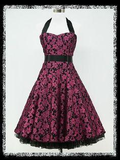 dress190 PURPLE & BLACK 50s FLORAL LACE ROCKABILLY VINTAGE PROM PARTY GOWN DRESS