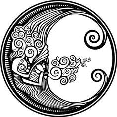Simbolos-de-tatuajes- La Luna como símbolo, más allá de ser el décimo octavo arcano mayor del tarot (símbolo de la eternidad, el descanso del alma y el poder de la imaginación), representa lo celestial