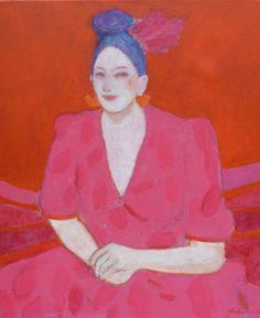 Elisabeth Jonkers, Rode dame, Olieverf op doek, 60x50 cm, €.750,-