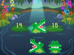 In this comparing numbers math game, your child uses the classic mnemonic device of the alligator mouth representing the less than and greater than signs. When the two numbers appear, your kid chooses the alligator whose mouth is pointing toward the larger number.