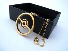 Pokeball+Pokemon+Necklace+GOLD+plated+brass+pendant+by+milkool,+$72.00