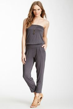 Solid Strapless Jumpsuit