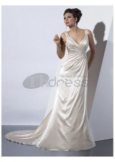 sexy col V profond robes de mariée A-ligne