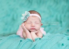 Teal light pink and brown fabric flower by DanicasChicBowtique, $9.50