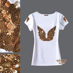 Tienda Online 2014 New Hot Sale! Angel Wings Gold Sequined Women Summer T-shirt Plus Size Short Sleeve Women's Tops Cheap T Shirts, Casual T Shirts, Diy Clothes, Clothes For Women, Diy Ugly Christmas Sweater, T Shirt Painting, Mode Outfits, Bar Outfits, Vegas Outfits