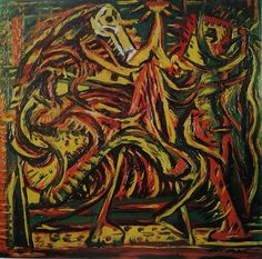 Jackson Pollock - Untitled - 1937 - Oil paint on masonite - Whereabouts unknown