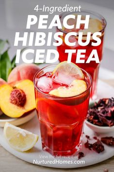 Iced Peach Hibiscus Tea (So refreshing!) - Nurtured Homes Fruit Drinks, Yummy Drinks, Healthy Drinks, Fruit Tea, Beverages, Cold Drinks, Alcoholic Drinks, Cocktails, Herbal Iced Tea Recipe