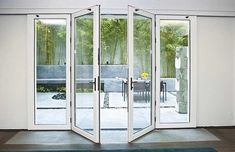 Nana Wall Systems Single Track Sliding System with Center Swing Doors Patio Windows, Patio Doors, Windows And Doors, Sliding Glass Door, Sliding Doors, Glass Doors, Glass Walls, Nana Wall, Door Design