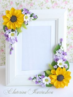 Easter gift sunflower wedding gift for couple gift for sister for bride newlywed gift for mother gir gifts for couple Easter gift sunflower wedding gift for couple gift for sister for bride newlywed gift for mother girlfriend gift photo frame lilac Clay Flowers, Paper Flowers, Wedding Wall Decorations, Decor Wedding, Wedding Picture Frames, Wedding Gifts For Couples, Newlywed Gifts, Frame Crafts, Easter Gift