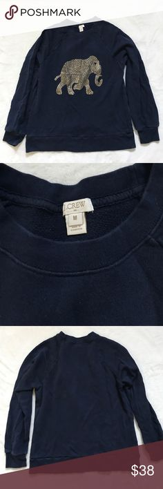 """J Crew elephant sweatshirt navy M Gently worn without stains or holes. Bust 19"""", length 22 12/"""" J. Crew Tops"""