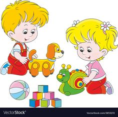 Illustration of Little girl and boy playing with their toys vector art, clipart and stock vectors. Boys Playing, Banner Printing, Clipart, Classroom Decor, Little Girls, Diy And Crafts, Kindergarten, Preschool, Toys