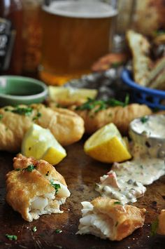 Beer Battered Fish and Chips w/ Spicy Remoulade | The Candid Appetite - great photo instructions!! Fish Recipes, Seafood Recipes, Pub Recipes, Savoury Recipes, Yummy Recipes, Rosemary Roasted Potatoes, Beer Battered Fish, Pub Food, Fish And Chips