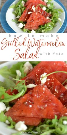I love a great summer salad recipe and if you do too then you will love this delicious and easy grilled watermelon salad with feta cheese ... such a quick and affordable summer side recipe that works perfectly for BBQ and picnic gatherings! This is also a great go to recipe for those times when you need an easy salad recipe to complete a meal. We love watermelon recipes and once you know how to grill watermelon you'll crave it all summer long!