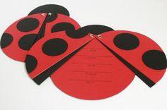 Hand made ladybug birthday invitations. Cute!