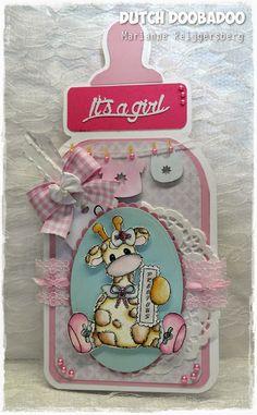 baby girl bottle card by Marianne Reijgersberg