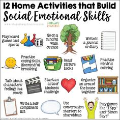 Social Emotional Activities for Home - 10 free social emotional learning ideas to use at home for parents. Social Emotional Activities, Counseling Activities, Learning Activities, Health Activities, Preschool Learning, Teaching Ideas, Elementary School Counseling, School Social Work, School Counselor
