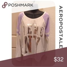 🆕 Aero Top Relaxed fit, length 26 inches, 60% cotton, 40% polyester, machine was/dry. Smoke and pet free home. All product is sealed in plastic💙. I'm sorry but I don't trade or try on clothes. Bin500-31 Aeropostale Tops Tees - Long Sleeve