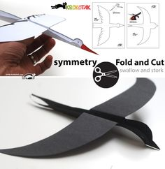 DIY Flying Paper Birds (swallow and stork). Print out the templates, cut them out, fold and fly! SYMMETRY – fold and cut. Design by my favorite Krokotak Projects For Kids, Diy For Kids, Crafts For Kids, Arts And Crafts, 3d Templates, Paper Birds, Bird Crafts, Kirigami, Paper Toys