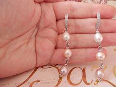 Pendientes de perlas. Pendientes largos con 3 por PearlDazzle