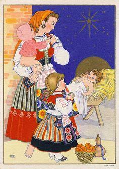 """Nativity scene by """"Laura Costa"""" ... Portuguese collection from CTT ... Correios de Portugal ... 1942"""