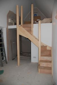 Garage conversion to tiny house - blog Building stairs