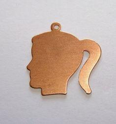 Copper Stamping Blanks Girls Head 1 Inch 24ga Pkg Of 4 commercial supplies handmade $3.59