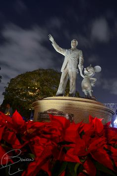 Gorgeous Christmas Time photo of the Partners Statue at Disneyland. Photo by #BrandonLe
