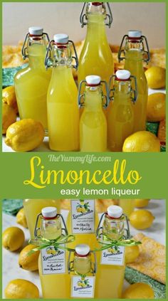 Limoncello Liqueur An easy Italian lemon liqueur to enjoy as an after dinner cordial or cocktail mixer. Also used to flavor sangria, cakes, and fruit salad. Limoncello Recipe, Homemade Limoncello, Lemon Cordial Recipe, Making Limoncello, Lemon Bar, Lemon Drink, Summer Drinks, Fun Drinks, Alcoholic Drinks
