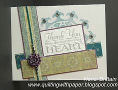 The theme for the Heart 2 Heart Challenge for November my mother's birthday, was gratefulness. My first thought was how grateful I fel. Mother Birthday, Paper Hearts, Heart Cards, Close To My Heart, Thank You Cards, Grateful, About Me Blog, Quilts, My Favorite Things