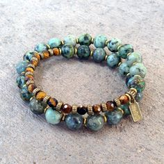 Bracelets - Change And Prosperity, African Turquoise And Tiger's Eye 27 Bead Wrap Mala Bracelet™