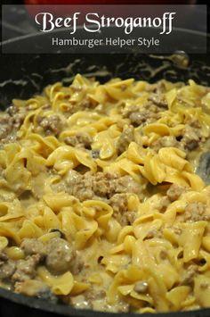 Beef Stroganoff- Hamburger Helper Style, from farmgirlgourmet.com