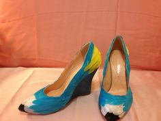 Macaw Wedge Heel Turquoise and Yellow by Vespetta on Etsy, $250.00