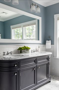 Benjamin Moore Paint Colors. Benjamin Moore Wedgewood Gray HC-146 #BenjaminMoore #WedgewoodGray HC-146.  I like the darker cabinets and light counters with color on the wall