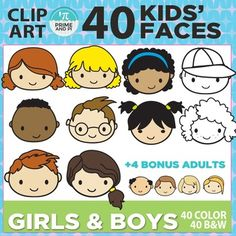 This is a set of 44 color and 44 B & W files of kids' faces. These are original faces not included in any previous clip art sets. Use these adorable smiling faces for charts, graphs, games, or jazzing up your products or worksheets.  INCLUDED IN THIS SET: -20 girls' faces in color & B&W  -20 boys' faces in color & B&W -4 bonus adult faces  -includes a useful guide to help find the file you want quickly -large file 300 dpi PNG files for better scaling