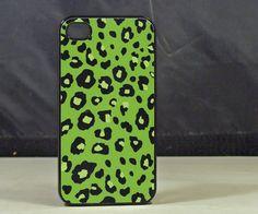 Green Leopard Print Iphone 4 /4s Black Rubber Case  , $13.99