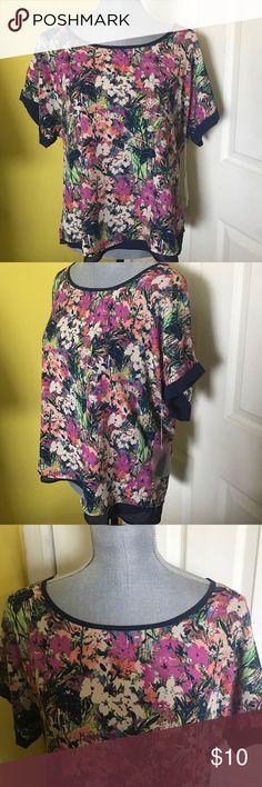 Forever 21 brand new navy floral blouse Forever 21 brand new with tags floral, navy blue blouse. Silky material. Short sleeves. Size medium. Originally $20. Forever 21 Tops Blouses