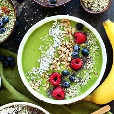 Super Green Smoothie Bowl - Blend avocado, frozen banana, frozen mixed berries, spinach, kale, nut milk and flaxseed meal, with optional nut butter. Enjoy! :)