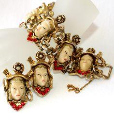 Selro Asian Princess Faces Bracelet Earring Set
