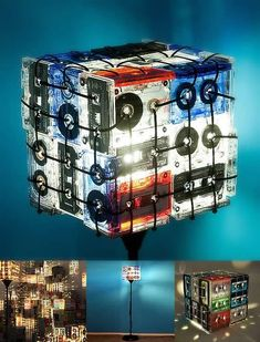 This is for sure amazing! dutchdzine: Cassette Tapes Lamp 'Cassette Tapes Lamp' by OOO My Design is a wonderful lamp that uses all those discarded cassette tapes. Diy Crafts Life Hacks, Diy And Crafts, Craft Projects For Kids, Diy For Kids, Pipe Lamp, Geometric Art, Woodworking Shop, Alter, Diy Room Decor
