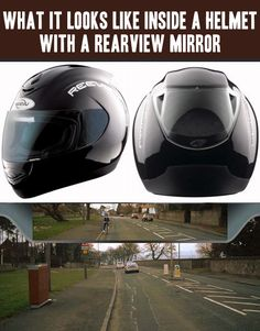 Funny pictures about A helmet with an integrated rear view mirror. Oh, and cool pics about A helmet with an integrated rear view mirror. Also, A helmet with an integrated rear view mirror. Moto Cafe, Ride Out, V Max, Cool Technology, Mobile Technology, Riding Gear, Motorcycle Gear, Motorcycle Helmet Design, Biker Helmets