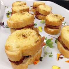 Mini Croque Monsieurs with Sour Cherry Compote Cherry Compote, Sour Cherry, Vancouver, Muffin, Breakfast, Mini, Ethnic Recipes, Food, Morning Coffee