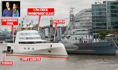 Russian tycoon moors his £225m bombproof superyacht on the Thames