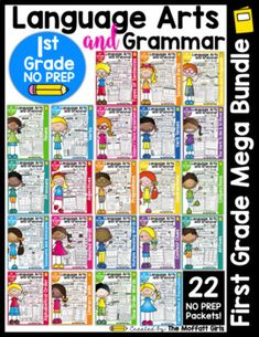 Grammar and Language Arts Bundle for Grade I am extremely excited to offer a NO PREP Language Arts and Grammar MEGA Bundle for grade! We have a Grade Bundle available HEREWhat is included in this NO PREP Language Arts and Grammar Preschool Math, Kindergarten Math, Math Activities, Cvc Words, Sight Words, First Grade Math, Grade 1, Short I Words, Teaching The Alphabet