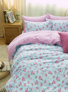 Plants And Flowers Floral Pink Bedding Duvet Cover Set Gift Idea Girls Bedding Teen Bedding Kids Bedding, Twin Size