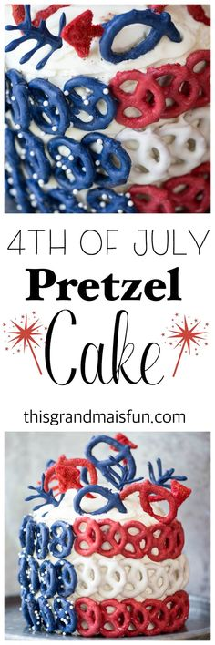 Stun your guests with this bold 4th of July Pretzel Cake. You won't believe how easy it is!!