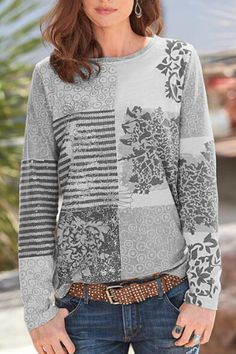 Bohemian Floral Striped Print Color-block Paneled T-shirt - Diorer Floral Stripe, Floral Tops, Long Sleeve Tops, Long Sleeve Shirts, Blouses For Women, Sweaters For Women, Thing 1, Outerwear Women, Fashion Prints